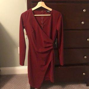 Lulus dark red long sleeve dress